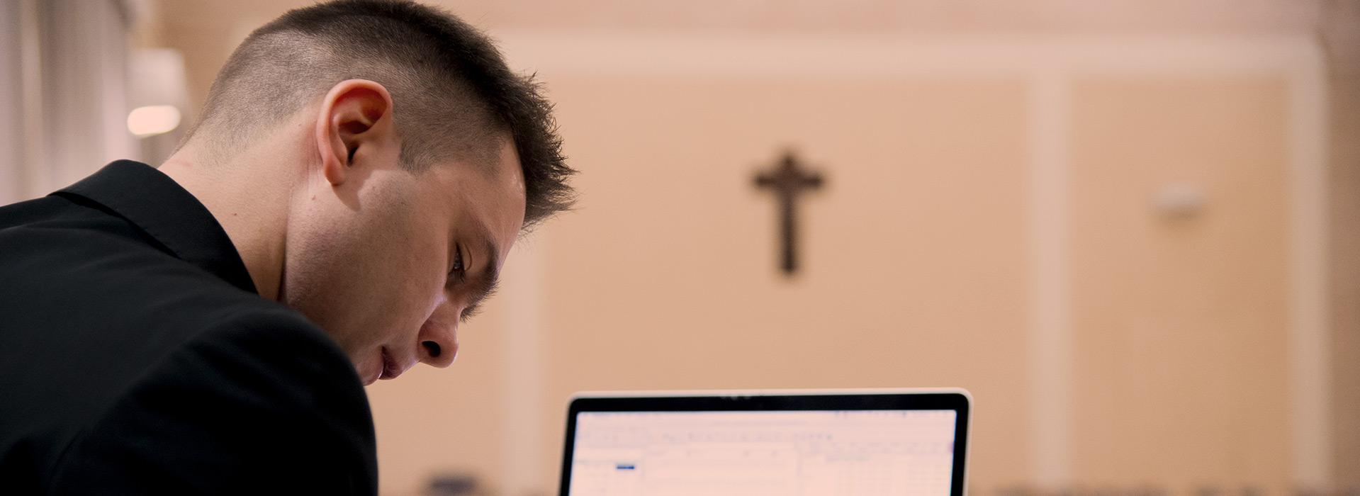 a seminarian studying
